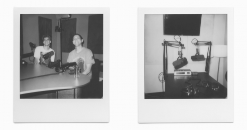 Polaroid photos of the artist Alex Da Corte and writer Charlie Fox, dated 2019.