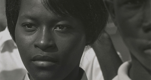 A detail of a photograph by Roy DeCarava, titled Mississippi Freedom Marcher, Washington, D.C., dated 1963.
