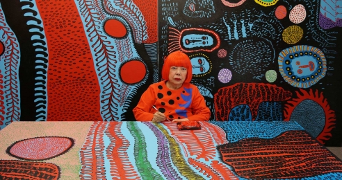 A photograph of Yayoi Kusama in her studio, dated 2017.