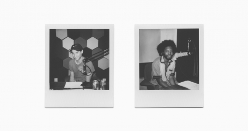 Polaroid photographs of Jordan Wolfson and Jeremy O. Harris at Hangar Studios, New York, June 2019.