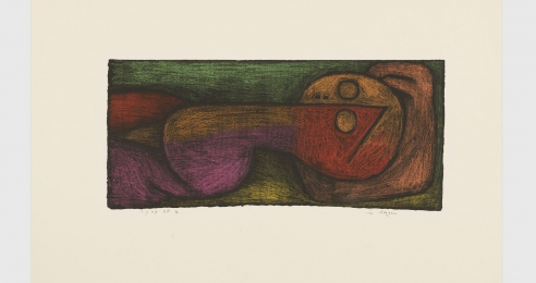 A work on paper on cardboard by Paul Klee, titled im liegen (Lying down), dated 1939.
