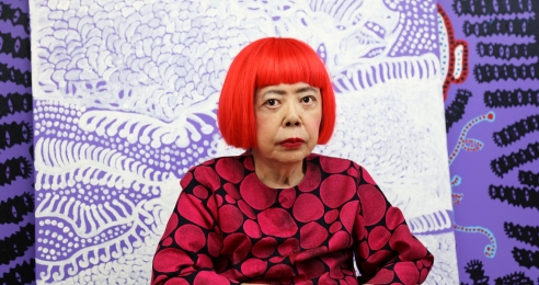 A portrait of Yayoi Kusama in her studio, dated 2019.