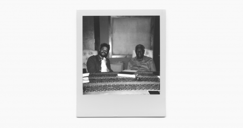 A photo of Oscar Murillo and Charles Henry Rowell at Hangar Studios, New York, dated June 2019. Photos by Alex Casto.