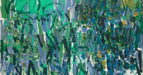 A detail from a painting by Joan Mitchell, titled No Rain, dated 1976.