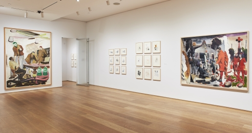 Installation view of the exhibition Installation view, Neo Rauch: Aus dem Boden/From the Floor at The Drawing Center, New York, in 2019.