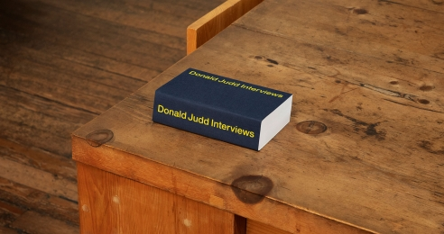 A photo of the book Donald Judd interviews.