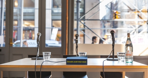 A photo of the book Donald Judd Interviews at Judd Foundation in New York, dated 2019.