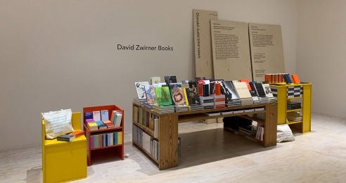 A photograph of the David Zwirner Books booth at NY Art Book Fair, 2019.