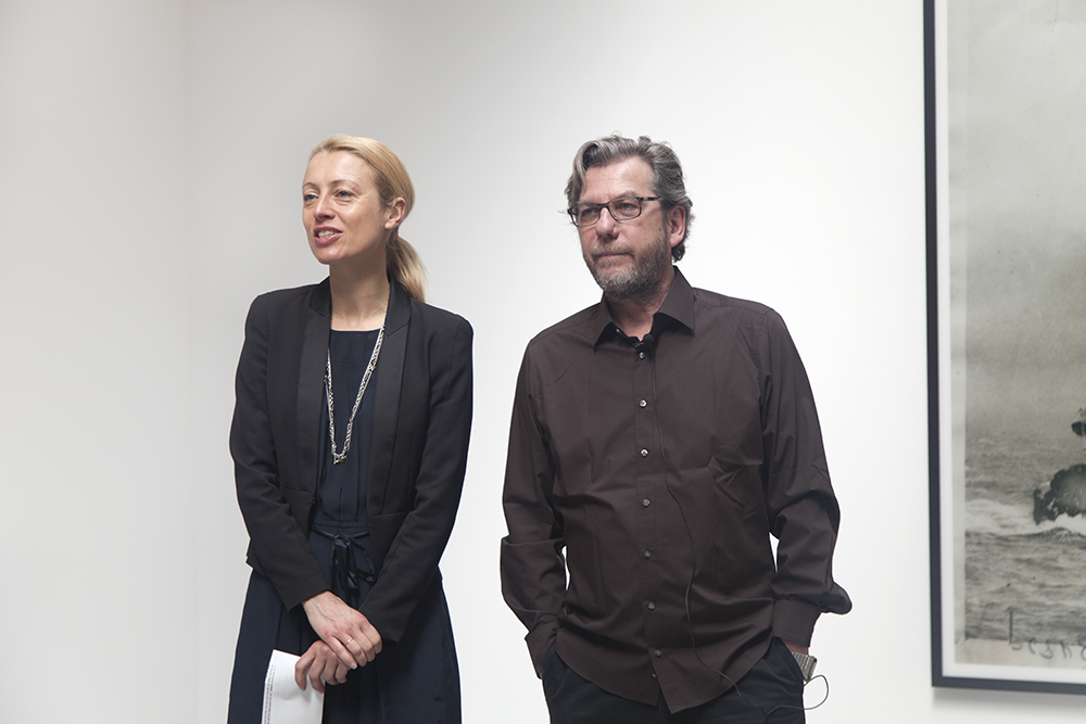 Veronique Ansorge, Director, and Thomas Ruff at the opening of the exhibition Thomas Ruff: press++ at 533 West 19th Street in New York, dated 2016.